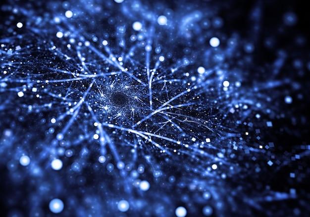 ボケ効果を持つ抽象ブルー粉塵