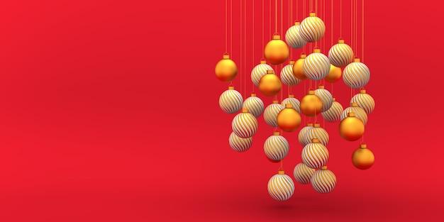 Geometric christmas golden white bulbs on red concept 3d rendering