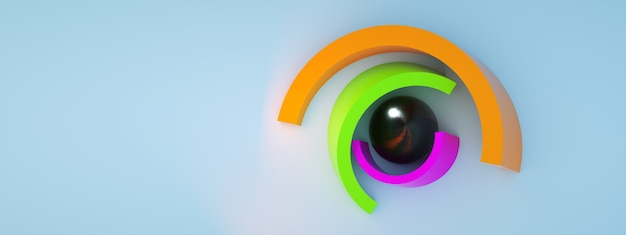 Geometric composition from colorful elements, 3d render, panoramic layout with space for text