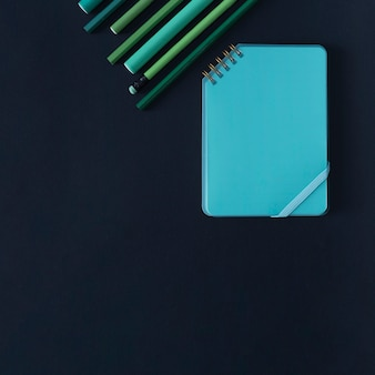 Geometric composition with writing accessories