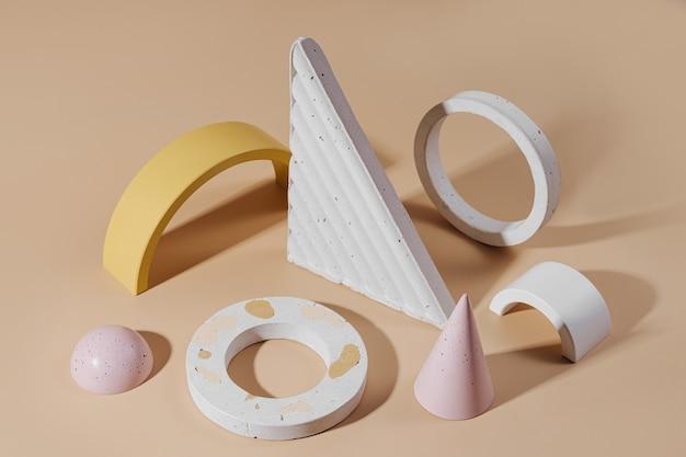 파스텔 배경의 기하학적 콘크리트 그림과 돌. 다양한 재료와 기하학적 모양의 현대적인 세트.