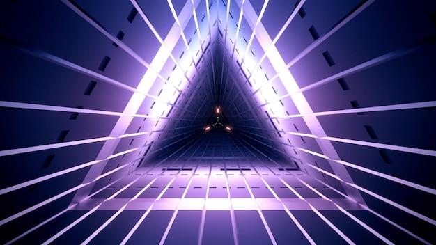 직선 네온 라인이있는 삼각형 모양의 기하학적 어두운 보라색 터널