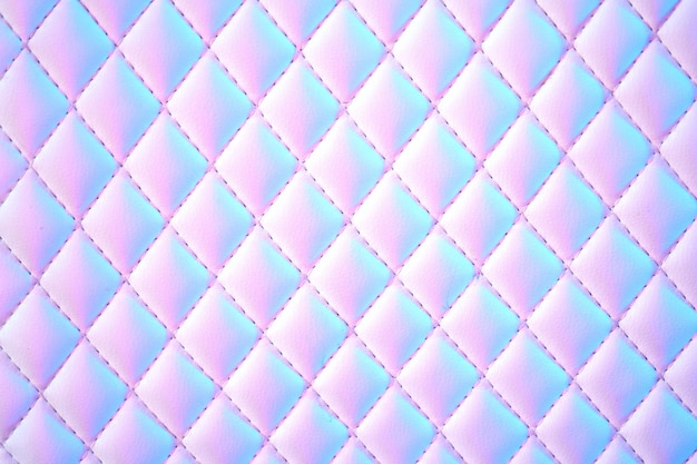 Geometric diamond background quilted pu leather in neon light