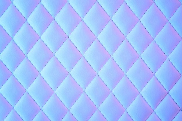 Geometric diamond pattern quilted pu leather in neon light