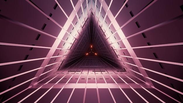 직선과 vinous 색상의 기하학적 희미한 삼각형 터널