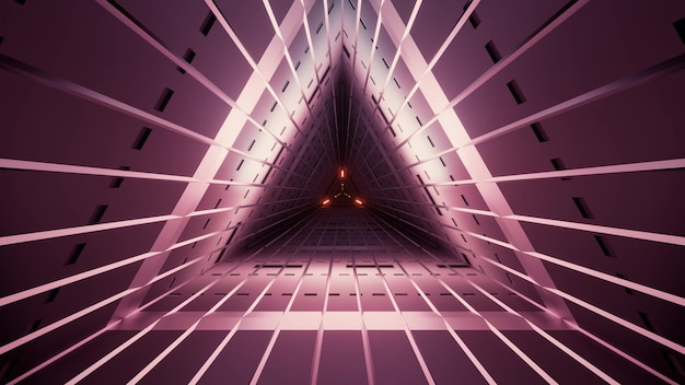Geometric dim triangle tunnel of vinous color with straight lines