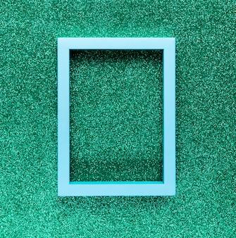 Geometric frame on green background