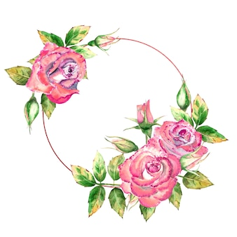 The geometric frame is decorated with watercolor flowers pink roses, green leaves, open and closed flowers