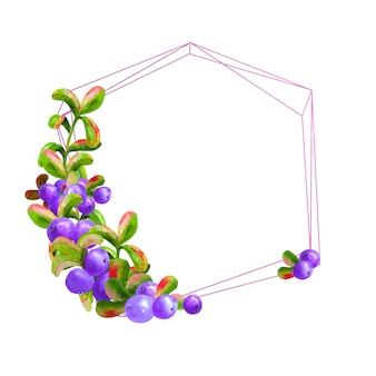 Geometric frame with ripe blueberries in blue tones
