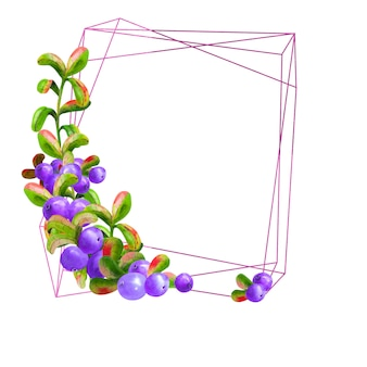 A geometric frame with ripe large berries on a white background