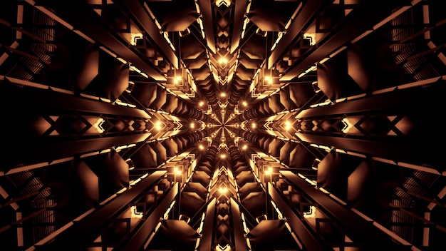 Geometric futuristic tunnel with kaleidoscopic crystal ornament glowing with golden neon light