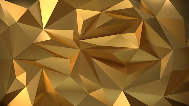 Geometric gold 3d background of the particle.