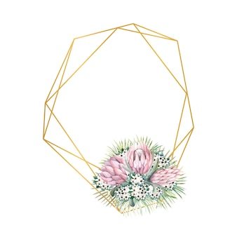 Geometric gold frame with protea flowers, tropical leaves, palm leaves, bouvardia flowers