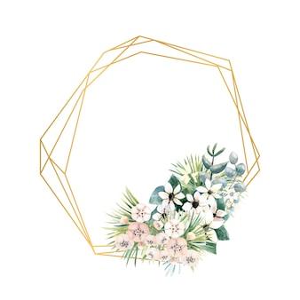Actinidia, bouvardia, 열대 및 야자수 잎의 작은 꽃이있는 기하학적 골드 프레임