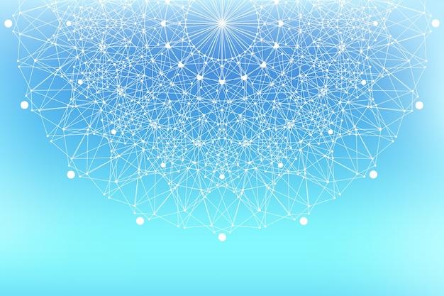幾何学的なグラフィック背景分子とコミュニケーション。化合物とのビッグデータ複合体。 lines plexus、最小配列。デジタルデータの視覚化。科学的なサイバネティックイラスト。