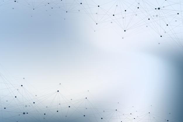 幾何学的なグラフィック背景分子とコミュニケーション。化合物とのビッグデータ複合体。視点の背景。最小配列ビッグデータ。デジタルデータの視覚化。科学的なイラスト。