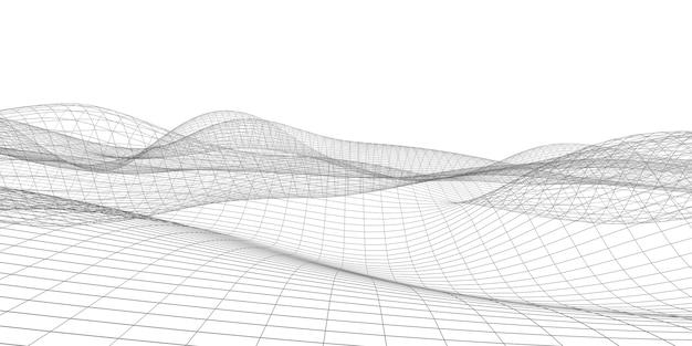 幾何学的なグリッド構造織りメッシュ波ダイナミックライン水平背景サイバー背景コンセプト