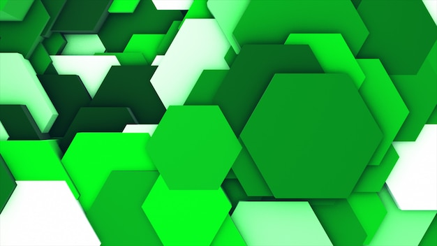 Geometric hexagons as a wave white and green.