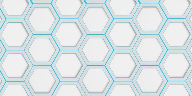 幾何学的な六角形六角形のハニカム、青いニスを塗った抽象的な背景の六角形のフレーム