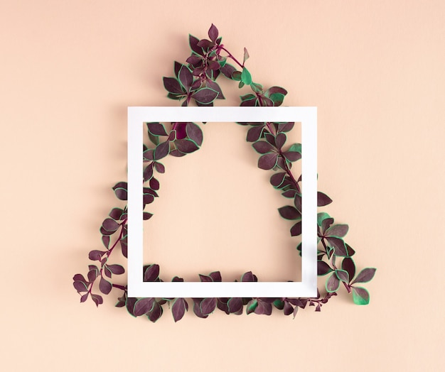 Geometric layout made of branches with green leaves in triangle shape and paper card frame.