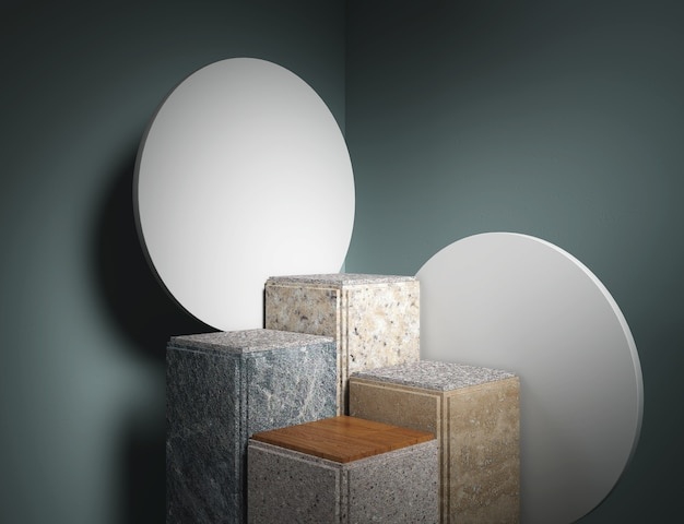 Geometric minimal scene design for cosmetic or product display podium