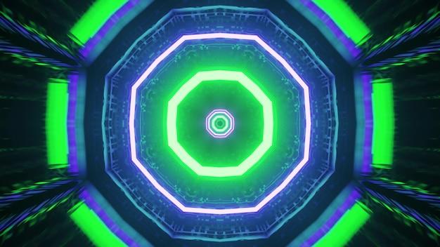 Geometric neon ornament 4k uhd 3d illustration