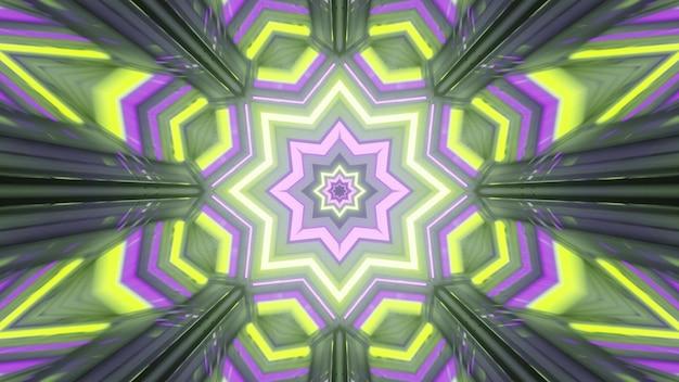 Geometric neon ornament in fantastic gateway 4k uhd 3d illustration