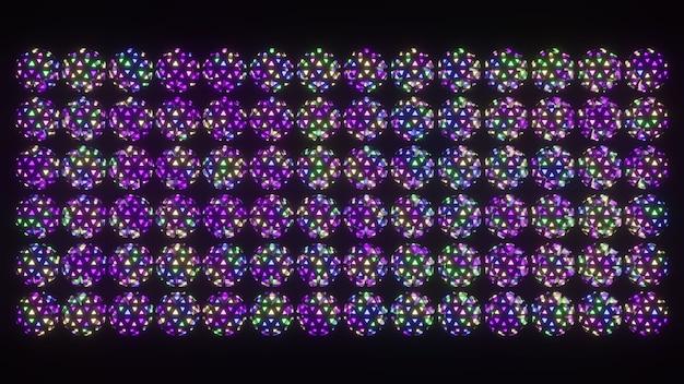 Geometric ornament of colorful spheres 4k uhd 3d illustration