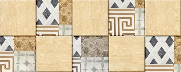Geometric pattern ceramic tiles with natural granite texture. element for interior design