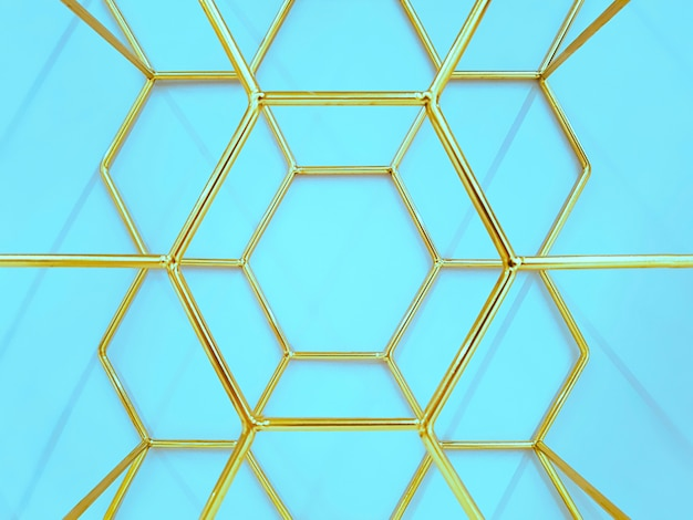 Geometric pattern of hexagons made of metal in gold color on a blue . concept , abstraction