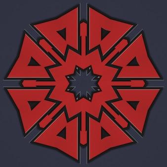 붉은 색의 기하학적 패턴, 스칸디나비아 켈트 스타일. 추상 짠 패턴 배경 그림입니다. 어두운 배경에 기하학적 패턴의 요소
