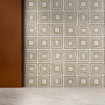 Design d'interni autentico della stanza vuota della parete modellata geometrica