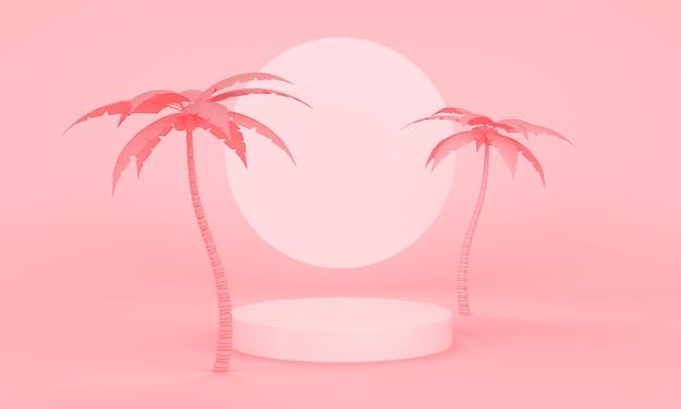 야자수와 분홍색 플랫폼이 있는 기하학적 분홍색 추상 배경. 3d 렌더링