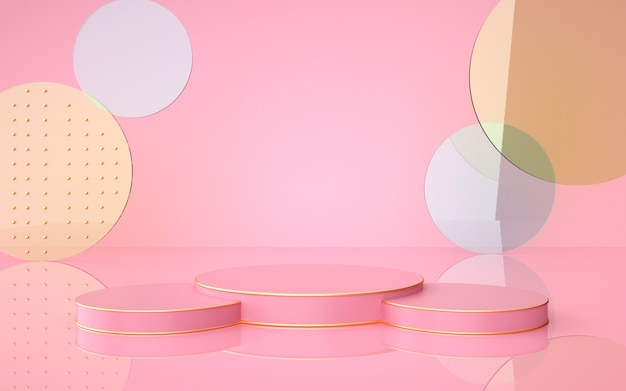 Geometric pink background with circular podium for product display