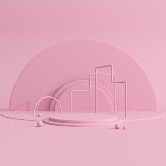 Geometric pink podium for product presentation.