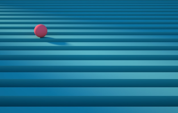 Geometric pink sphere rolling over a blue stripe abstract background concept render