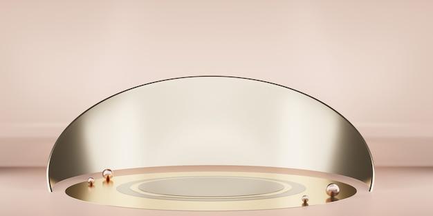 製品ディスプレイ3d用のプレミアムスタジオ表彰台での幾何学的なプラットフォームのミニマリストシーンステージ
