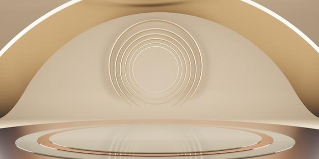 Геометрическая платформа, минималистичная сцена сцена на студийном подиуме премиум-класса для демонстрации продуктов в 3d