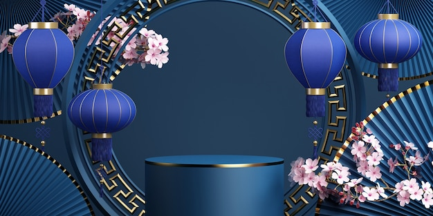 Geometric podium cherry blossompan and chinese lantern with blue background 3d rendering