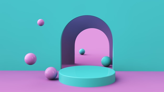 Geometric podium for product placement. 3d render.