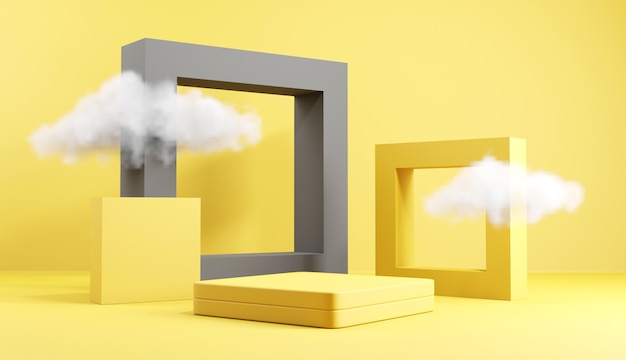 Geometric podium stage with cloud in yellow and grey backgrounds