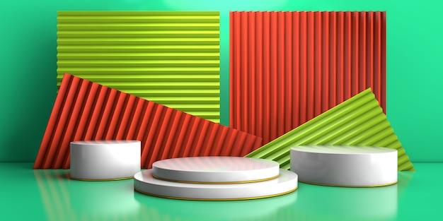 グリーン製品コンセプト3 dレンダリングにジグザグ背景の幾何学的な表彰台