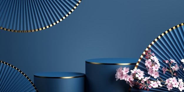 Geometric podiumcherry blossom and pan with blue background for product presentation3d rendering