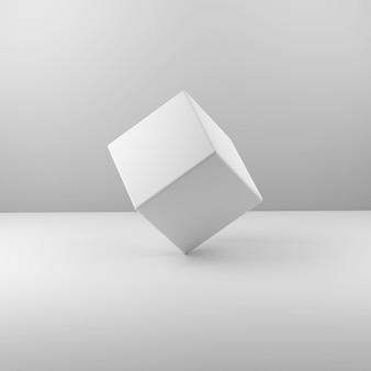 Геометрический реальный пластиковый куб на белом фоне. 3d иллюстрация
