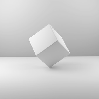 Geometric real plastic cube on white background. 3d illustration