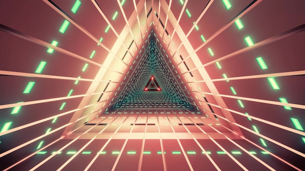 Geometric red tunnel of triangle shaped illuminated with neon green lamps