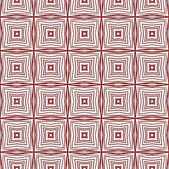 Геометрический бесшовный образец. бордовый симметричный фон калейдоскопа. текстиль готов изящный принт, ткань купальников, обои, оклейка. ручной обращается геометрический бесшовный дизайн.