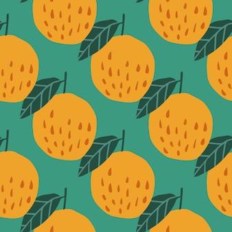 사과와 잎이 녹색 배경에 있는 기하학적 완벽 한 패턴입니다. 손으로 그린 사과 배경입니다. 직물, 직물 인쇄, 포장지, 어린이 직물을 위한 디자인. 벡터 일러스트 레이 션