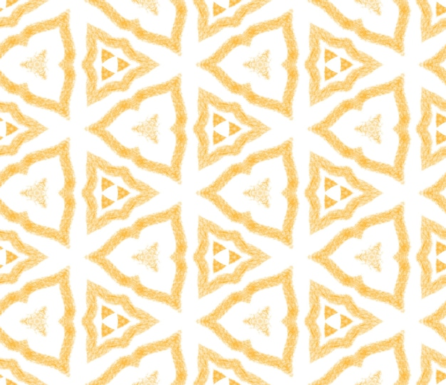기하학적 완벽 한 패턴입니다. 노란색 대칭 만화경 배경입니다. 손으로 그린 기하학적 완벽 한 디자인입니다. 직물 준비 좋아하는 인쇄, 수영복 직물, 벽지, 포장.