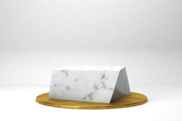 Geometric shape 3d rendering stage for products or achivments marble and gold in white studio